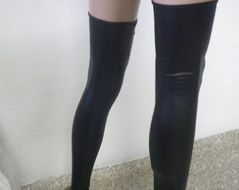 Black leather socks knitted - leather with Lycra