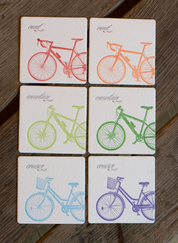 Mixed BIKE Coasters, (Letterpress printed, 3.5 inches) set of 8, perfect gift