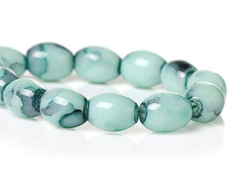 35 Oval Glass Beads - Pale Turquoise Oval Beads BD731