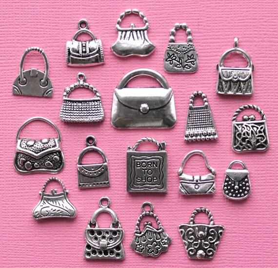 Deluxe Handbag Purse Charm Collection Antique Silver Tone 18 Charms - COL053