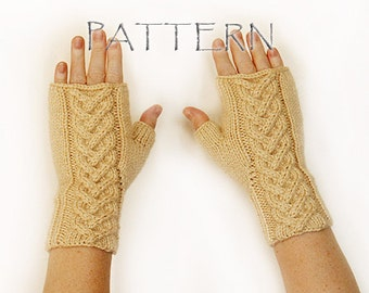 Pattern Knitted Cable Fingerless Mittens PDF