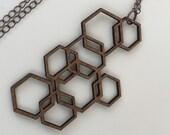 Wood Necklace, Walnut Laser Cut Hexagon Necklace
