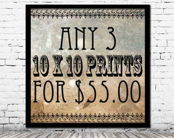 Any 3 10 x 10 PRINTS for 55.00 - you pick personalized home decor affordable art set housewarming gift