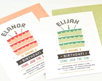 Cake Invitation, Children's Birthday Party Invite // CAKE TIME