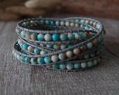 5 Wrap Colorful Jade Bracelet Simulated Leather Bracelet Wrap Bracelet Beaded Strand White Leather Bracelet 10796