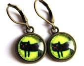 Black Cat Spotty Earrings Polka Dot Fashion Jewelry