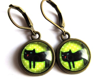 Lucky Black Cat Earrings Fashion Jewelry