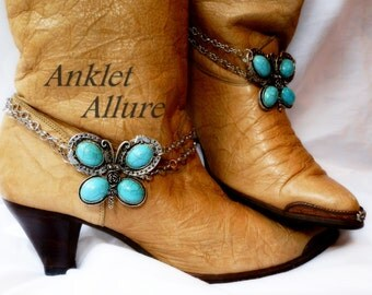 Southwestern Butterfly Boot Chains Turquoise Silver Boot Jewelry Cowboy Boots Boot Bracelet