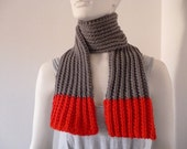 Winter Scarf, Gray & Red Scarf, Wrap Scarf