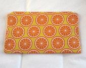 Oranges Fabric Zipper Pouch / Pencil Case / Make Up Bag / Gadget Pouch