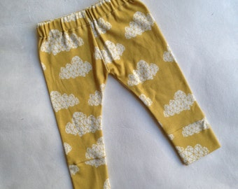 Organic Clouds Yellow Baby Leggings, Infant Leggings, Toddler Leggings