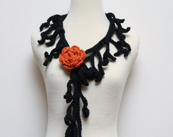 Black Branch Scarf / Lariat with Orange Rose Brooch