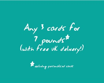 Choose 3 cards for 7 pounds