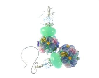 Mint Green Lampwork Earrings, Glass Bead Earrings, Lavender Beadwork Earrings, Lampwork Jewelry, Colorful Flower Earring, Glass Bead Jewelry