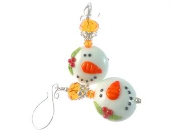 Snowman Earrings, Christmas Earrings, Lampwork Earrings, Christmas Jewelry, Glass Bead Earrings, Unique Earrings, White Lampwork Jewelry