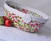 Beautiful Coiled Basket, Unique Holiday Basket, Handmade Holiday Bowl, Christmas Gift Basket, Christmas Card Basket, Modern Bowl