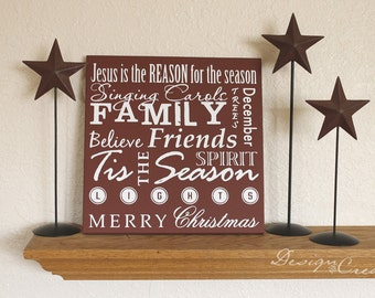 Custom Sign - Christmas sign, things of the Holidays, Jesus is the Reason for the Season, Tis the Season, Merry Christmas - wood sign