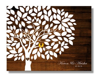 Wedding Guestbook -Wood Wedding tree Rustic Wedding Tree To Be Personalized With Guest's Signatures  - 17x22 - 160 Signature Wedding tree
