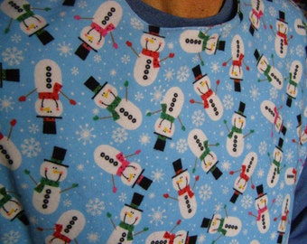 Adult Flannel Bib reversible Snowmen extra long