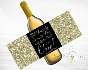 New Year Countdown Printable Wine Label   Hostess Gift, New Year Gift Bottle Label   DIY Print at Home Digital File