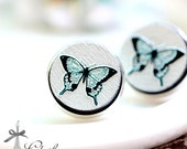 20% off -NEW Unique 3D Embossed Butterfly 16mm Round Handmade Wood Cut Cabochon to make Rings, Earrings,  Necklaces, Bracelets-(WG-227)