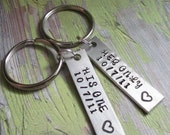 Couples Key Chain SET OF 2 CUSTOM His One Her Only Keychains Hand Stamped Brushed Aluminum Personalized Made To Order Stocking Stuffer