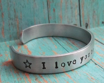 Set of 2 TWO BOYS Bracelets I LOVE You To The Moon And Back Cuff Aluminum Kids Jewelry Hand Stamped Toddler Child Sizes Available