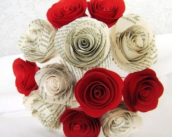 "2"" spiral book page roses plus spiral red roses one dozen paper flowers bouquet wedding toss rehearsal alternative centerpiece Valentines"