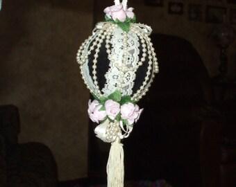 Handmade Vintage Christmas Ornament Victorian Pink Roses Lace Ribbon Pearls Blue Velvet Tassel