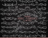 Chalkboard Flourishes Swirls Clipart Clip Art, Chalk Board Digital Flourish Swirl Clipart Clip Art Vectors - Commercial and Personal Use