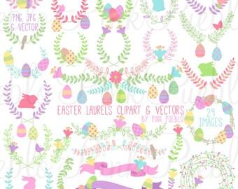 Easter Laurel Clipart Clip Art, Easter Laurel Wreath Leaf Clip Art Clipart Vectors - Commercial and Personal Use