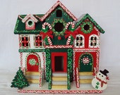 Handpainted Christmas Birdhouse/Brownstone Style/Christmas Decor/Candy Canes/Snowman/Tree