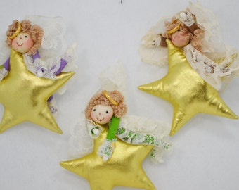 Vintage Christmas Angels on Gold Stars and Gold Moon Fabric Doll Angels with Curly Hair Happy Faces Lace Wings