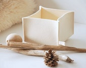 "Felt Basket, Pure Wool White Felt Box 6"" x 6"" x 4"""
