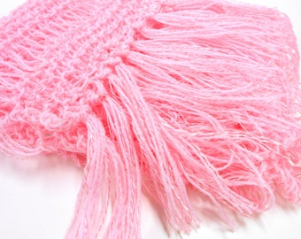 Lightweight Pink Knit Scarf, Lacy Knit Scarf, Womens Accessories