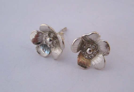Wild Rose floral stud earrings, floral sterling silver nature Gift