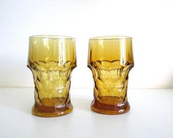 Retro 70's Gold/Amber Cut Glassware