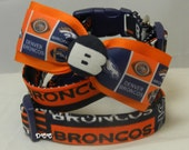 Dog Collar Denver Broncos AFC West Football Orange Navy Sports Team Ribbon Bow Tie Sports Adjustable Dog Collar D Ring Handmade Choose Size