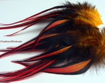 Craft Feathers Wholesale Red Orange Laced Rooster Dreamcatcher Feathers Jewelry Making Feathers Rainbow Colored Feathers for Crafts 12