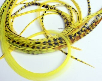 Yellow Hair Feathers 7 Long Bright a Yellow Feather Extensions Hair Accessories
