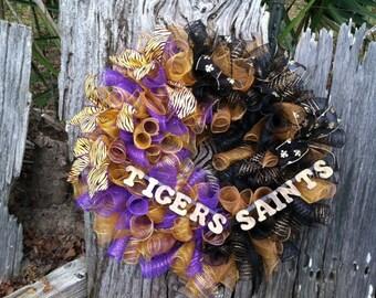 LSU/New Orleans Saints Wreath