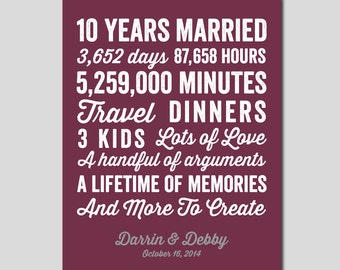 10th Wedding Anniversary Gifts For Husband India : 10 year anniversary gift 10 year wedding anniversary you choose colors ...