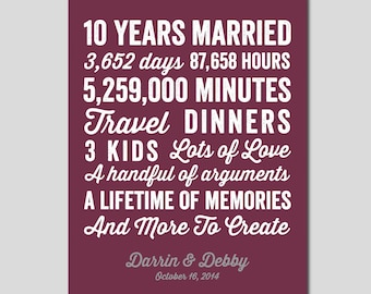 10 Year Anniversary Gift 10 year Wedding Anniversary You choose Colors Personalized Wedding Print Anniversary Print Subway Art, 11x14 Print