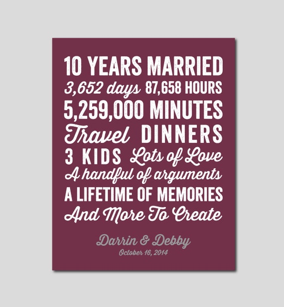 10 Yr Wedding Anniversary Gift Ideas : 10 Year Anniversary Gift 10 year Wedding Anniversary You choose Colors ...