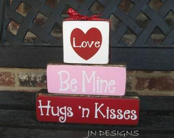 "Valentine's""CHUNKY"" stacker  wood blocks--Be Mine Hugs 'n Kisses"