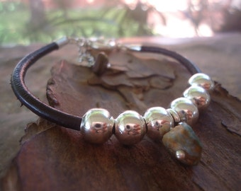 STONE BEADS with LEATHER leather bracelet spring ring clasp (1126)