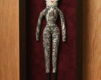 Tattoo Doll / Carnival Doll / Sideshow / Doll Art / Shadowbox  / Vintage Traditional Tattoo / Dolls / fiber art / Vintage / burlesque / doll