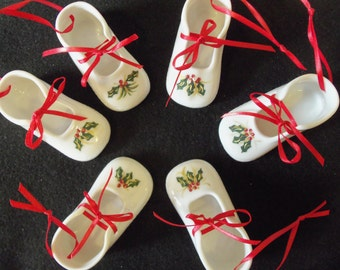 Handpainted Baby's First Christmas Holly and Ivy Shoe Ornament