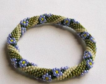 Bead Crochet Pattern:  Flower in a Field of Grass Bead Crochet Bangle Pattern