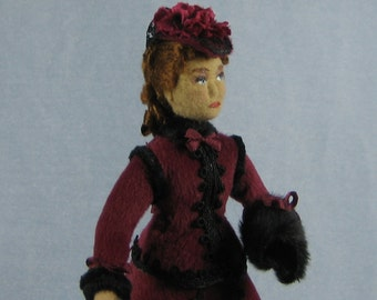 Victorian Lady Soft Sculpture Miniature Doll by Marie W. Evans